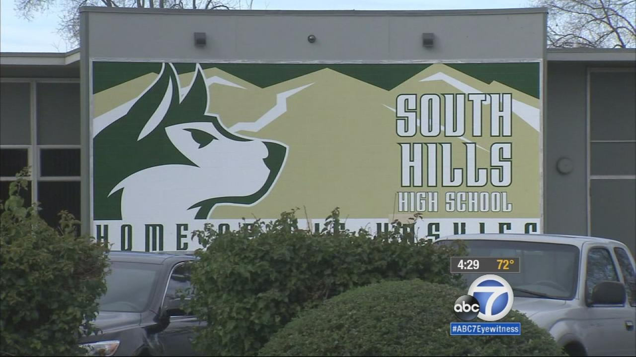 A sign for South Hills High School is shown in this undated file photo.