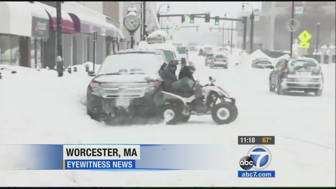 Two kids on a four-wheeler ATV slammed into a parked SUV in a Worcester, Massachusetts neighborhood Monday.