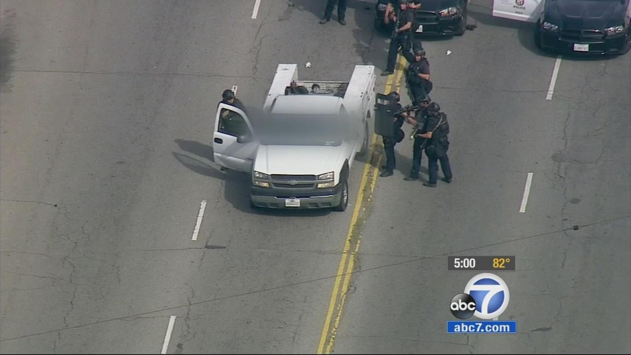 A dangerous police chase ended in Arleta on Wednesday, with the suspect dead inside a truck.