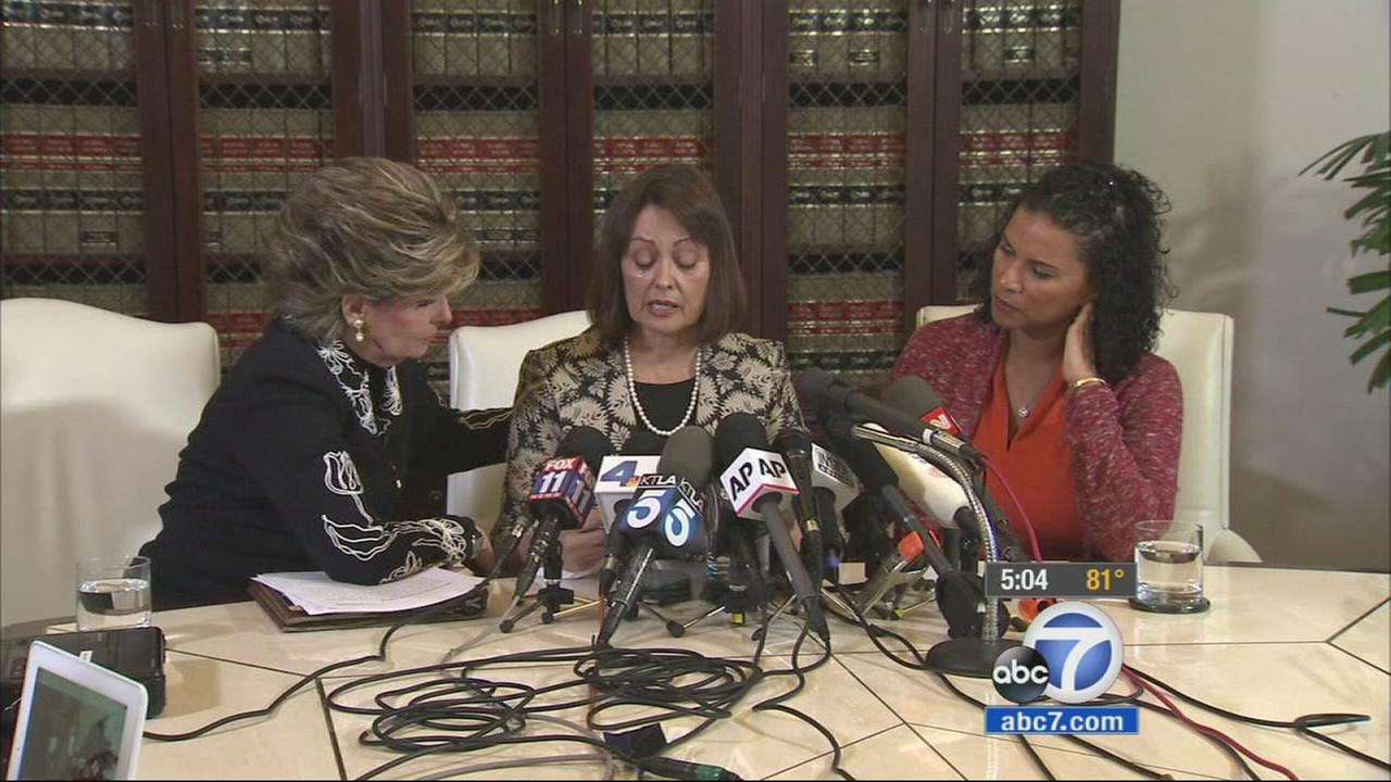 Two former models accuse comedian Bill Cosby of sexually assaulting them during a press conference on Thursday, Feb. 12, 2015.