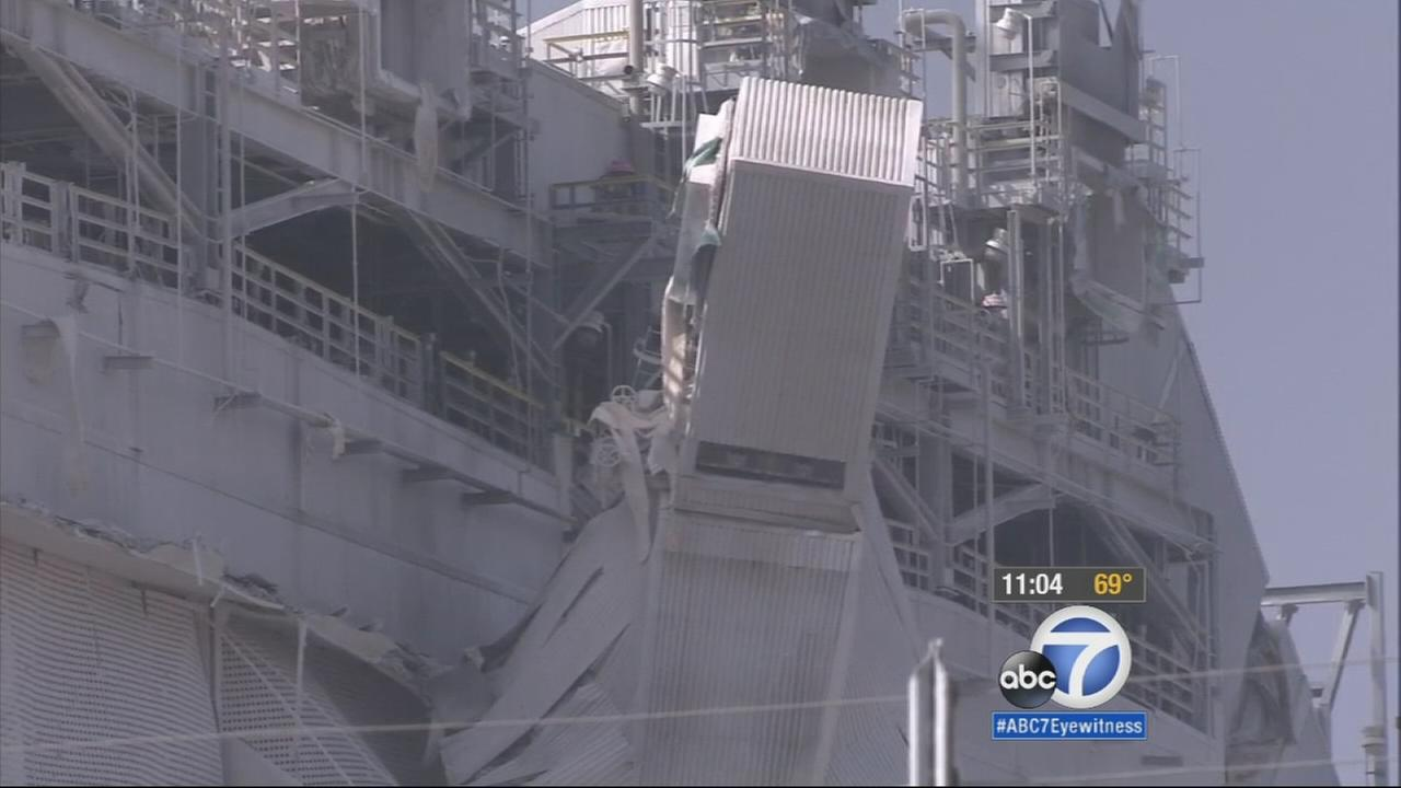 Damage is seen after an explosion at the Exxon Mobil refinery in Torrance on Wednesday, Feb. 18, 2015.