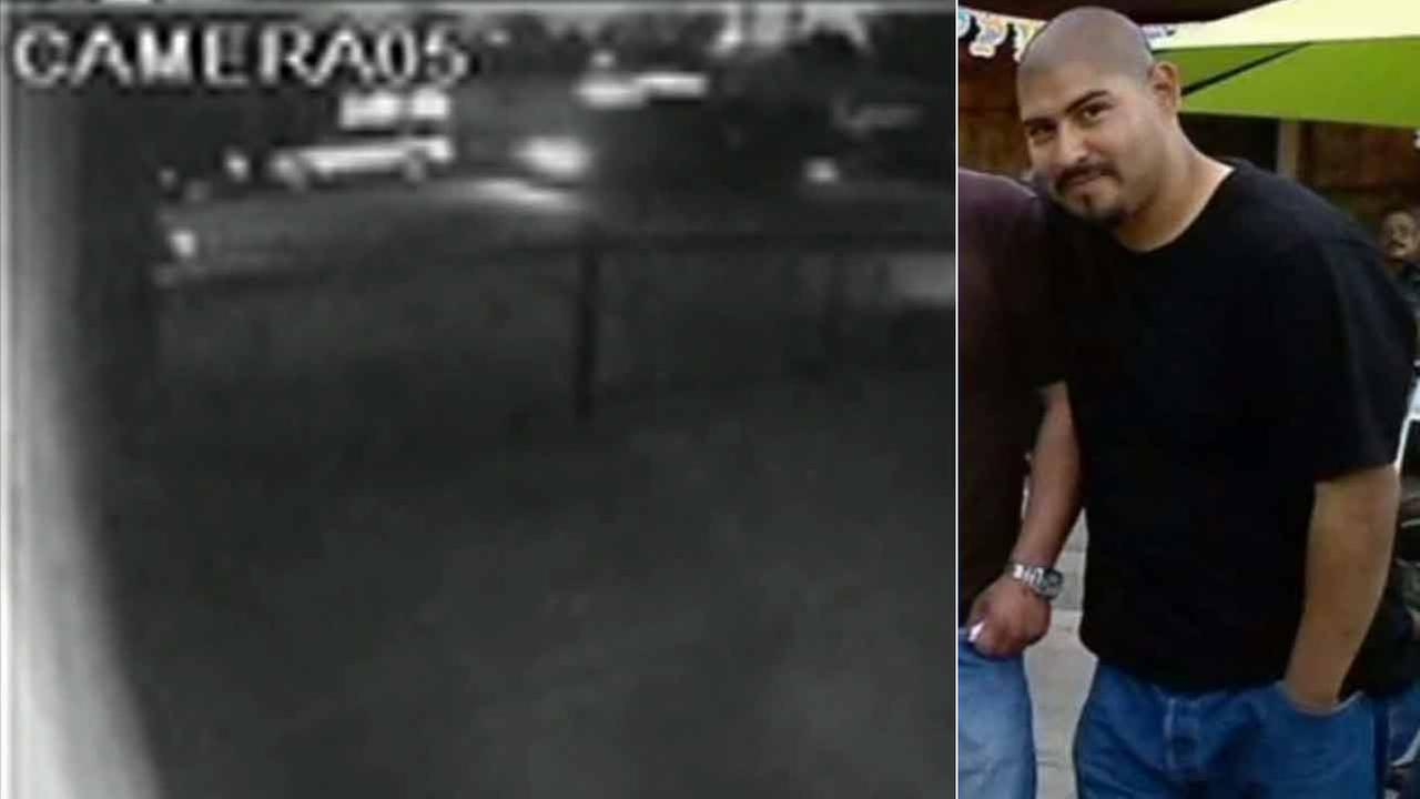 (Left) A surveillance image shows a party bus driving in front of Rock of the Nations Church in Norwalk. (Right) Efren Virgen, 26, is shown in an undated file photo.