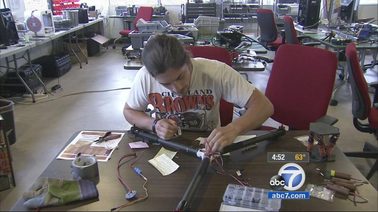 A USC student works on a project at the USC Viterbi Start Up Garage on Thursday, Feb. 26, 2015.