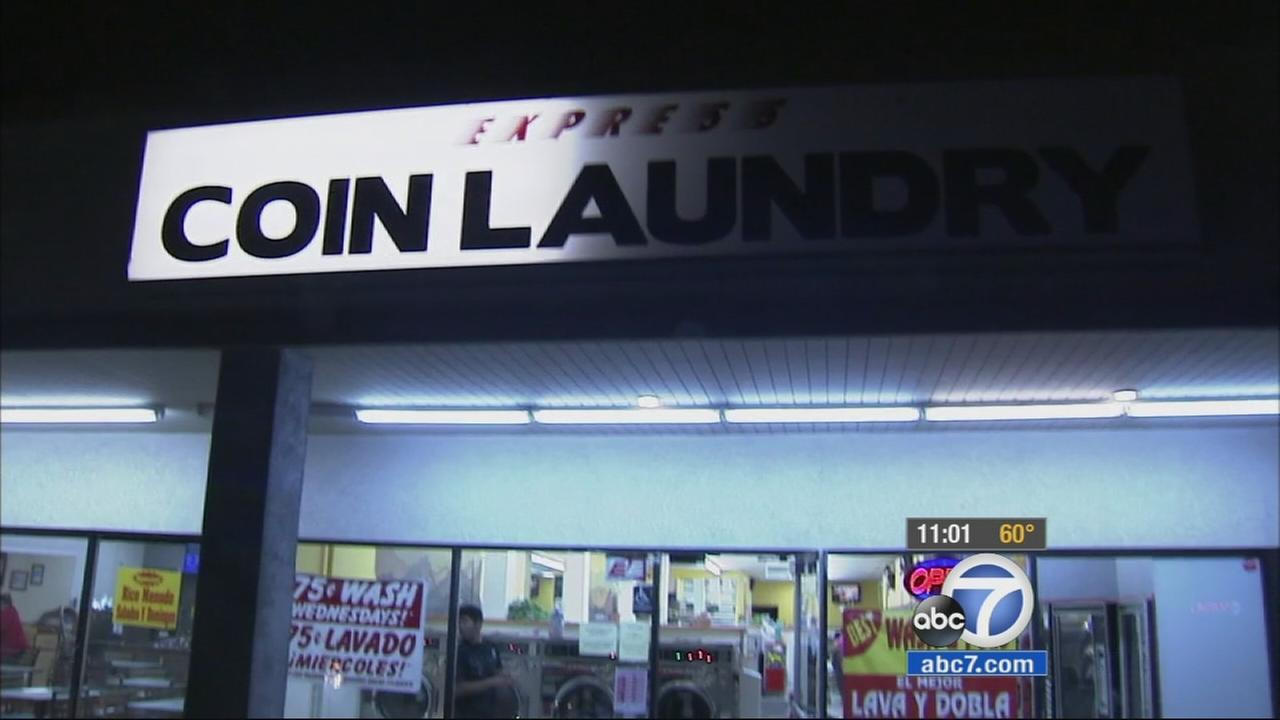 An Anaheim laundromat where a woman was stabbed on Sunday, March 8, 2015.