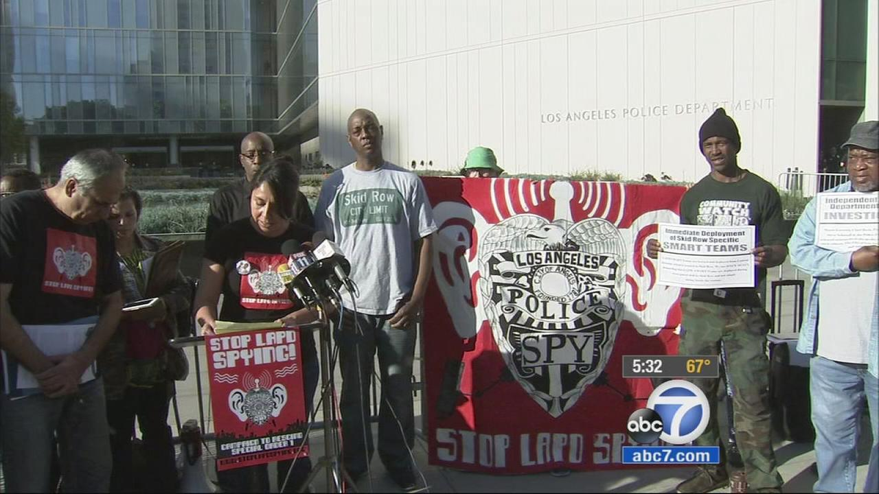 Protestors outside Los Angeles Police Department headquarters in downtown Los Angeles demanded an independent investigation into the police shooting of a homeless man on Skid Row.