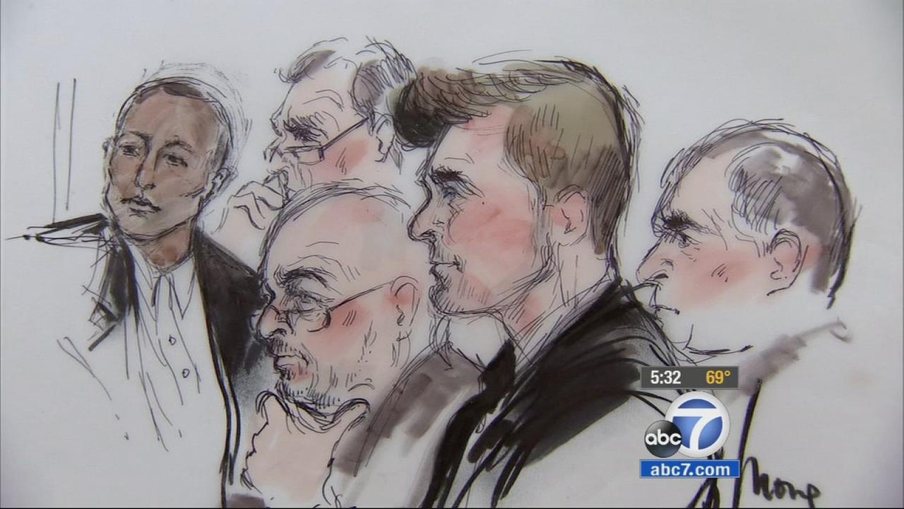 The image above shows a sketch of Pharrell Williams and Robin Thicke during their Blurred Lines trial.