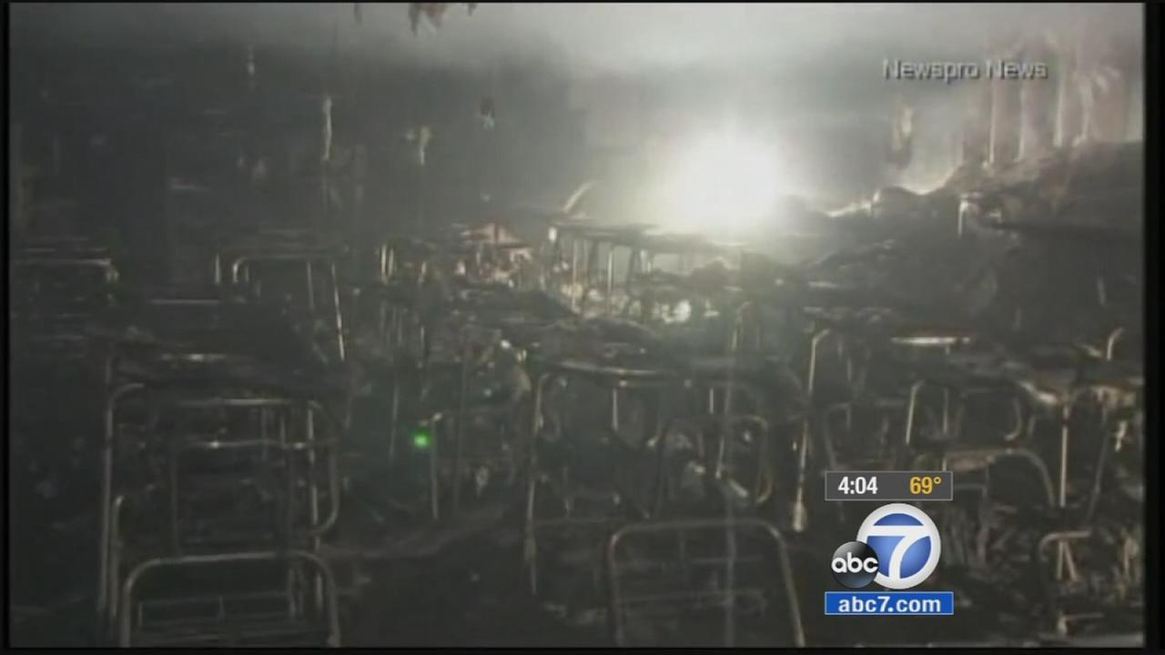 A fire gutted a portable classroom on the Redlands High School campus on Wednesday, March 18, 2015.
