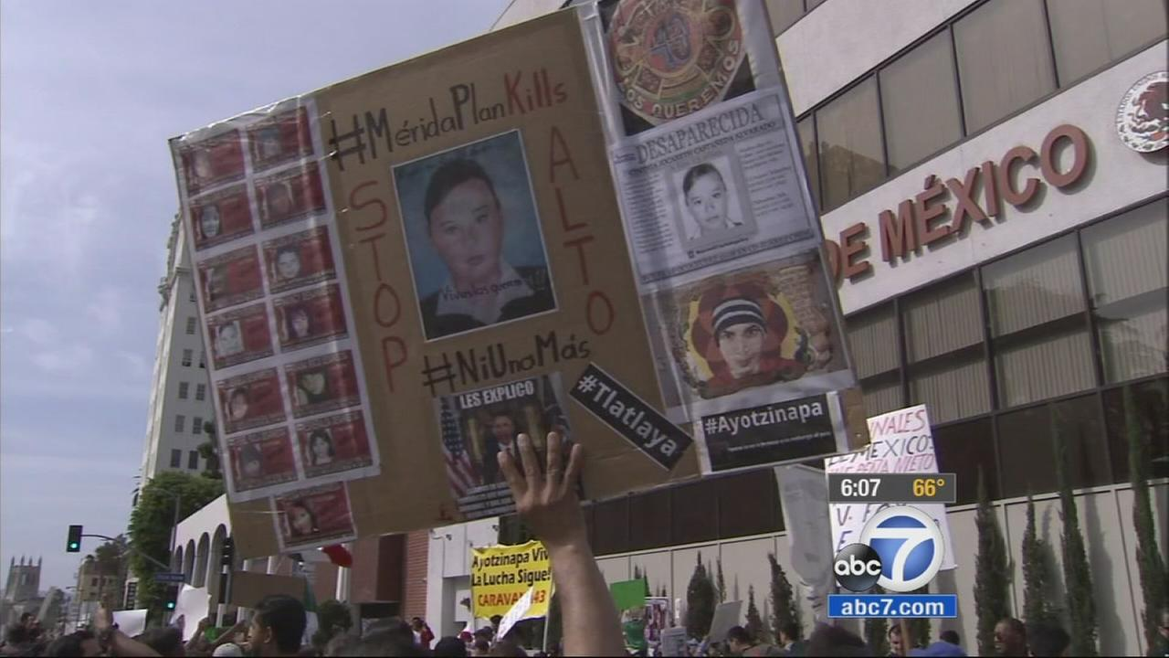 Relatives of the 43 students who disappeared in Mexico last September packed the streets of downtown Los Angeles Sunday to bring attention to their cause and seek support.