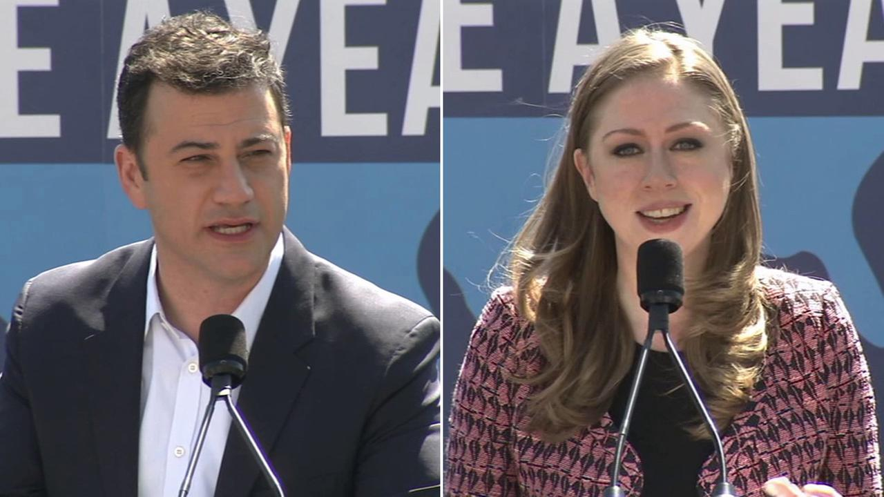Jimmy Kimmel and Chelsea Clinton speak at the launch of Serve A Year, a campaign to inspire youths to join the national service.