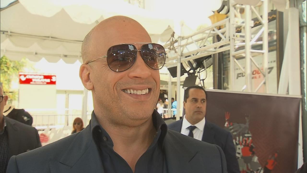 Vin Diesel speaks to Eyewitness News after printing his hands and feet into cement in front of the TCL Chinese Theatre in Hollywood on Wednesday, April 1, 2015.