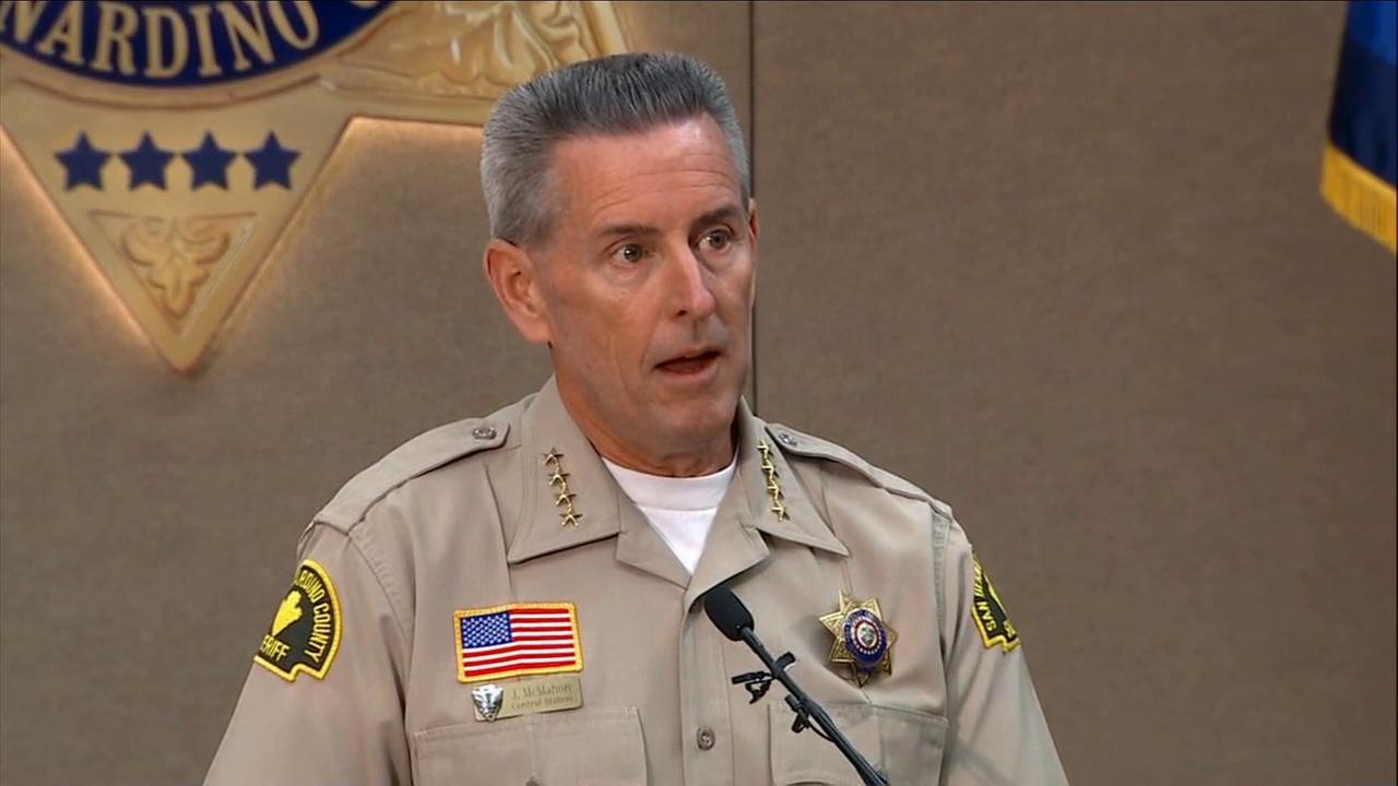 San Bernardino County Sheriff John McMahon holds a press conference on Friday, April 10, 2015, regarding the beating video of a horse chase suspect.