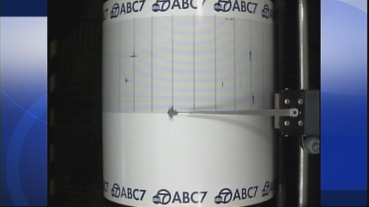ABC7s Quake Cam captures a 2.5-magnitude earthquake near Baldwin Hills on Sunday, April 12, 2015.