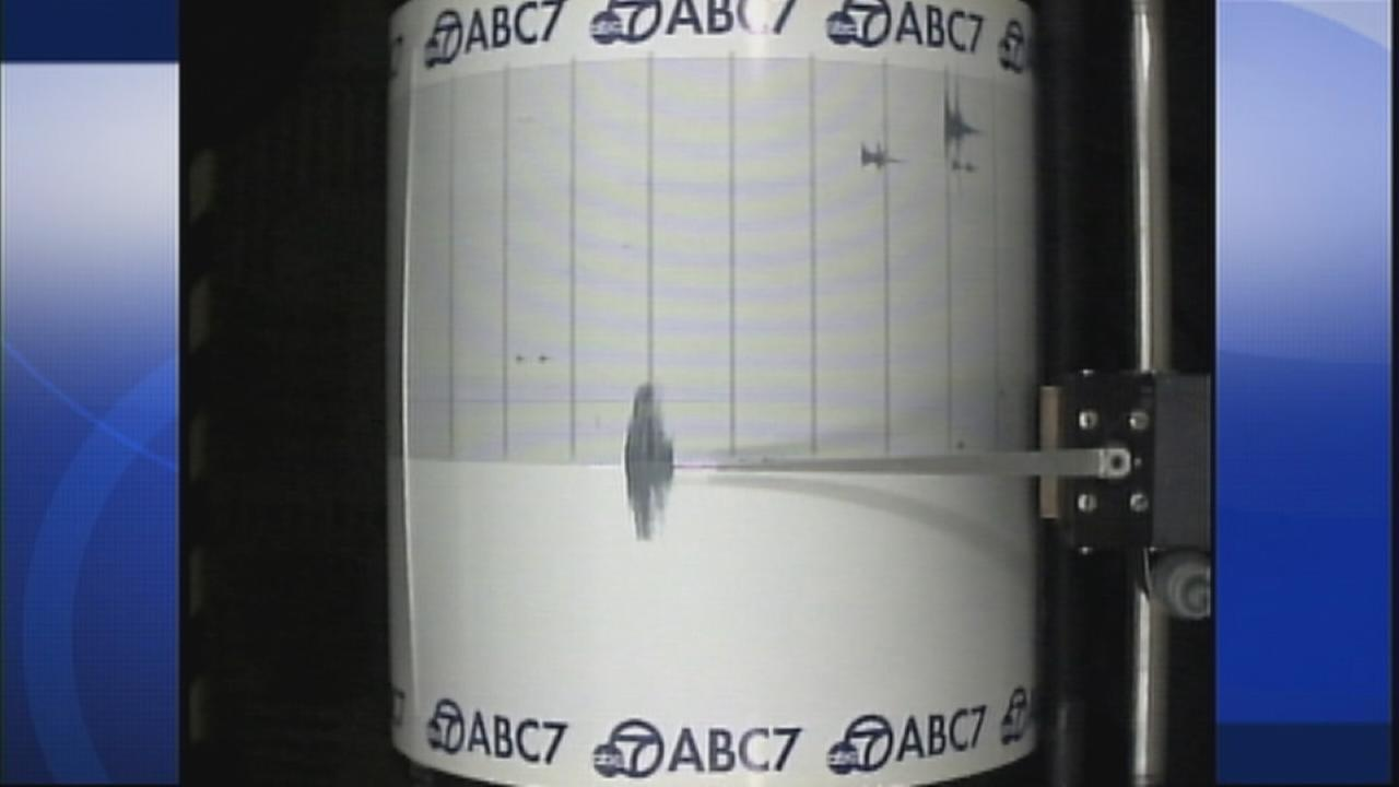 ABC7s Quake Cam captures a 3.5-magnitude earthquake near Baldwin Hills on Sunday, April 12, 2015.