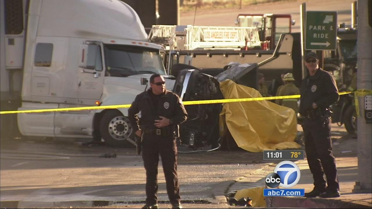 A multi-vehicle collision, involving a big rig, truck and at least three other vehicles has left one person dead and several others injured in Lake View Terrace.