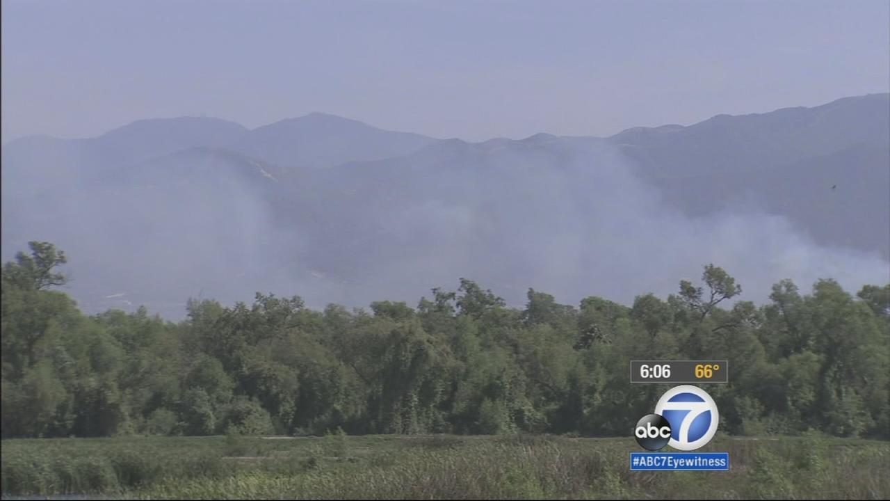 Smoke from the Prado Dam Fire