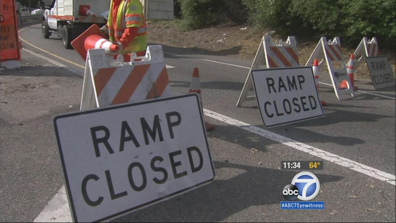 The Barham Boulevard exit off the 101 Freeway is closed on Wednesday, April 22, 2015.
