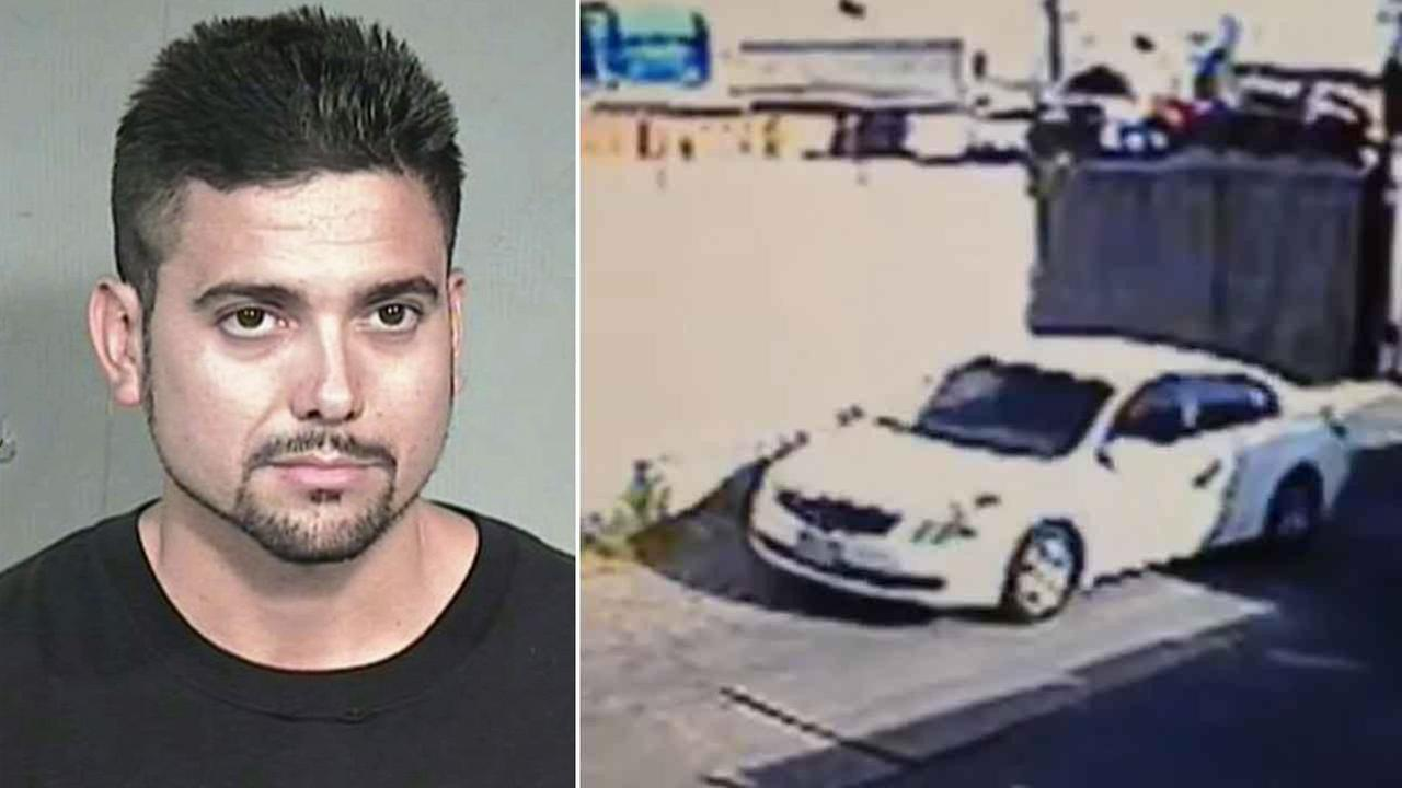 Michael David Ikeler, 36, of Torrance, is shown in an undated mugshot alongside his car.