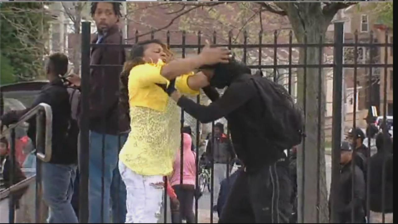A suspected rioter in Baltimore got the smackdown of his life Monday by his mom on live television, Monday, April 27, 2015.
