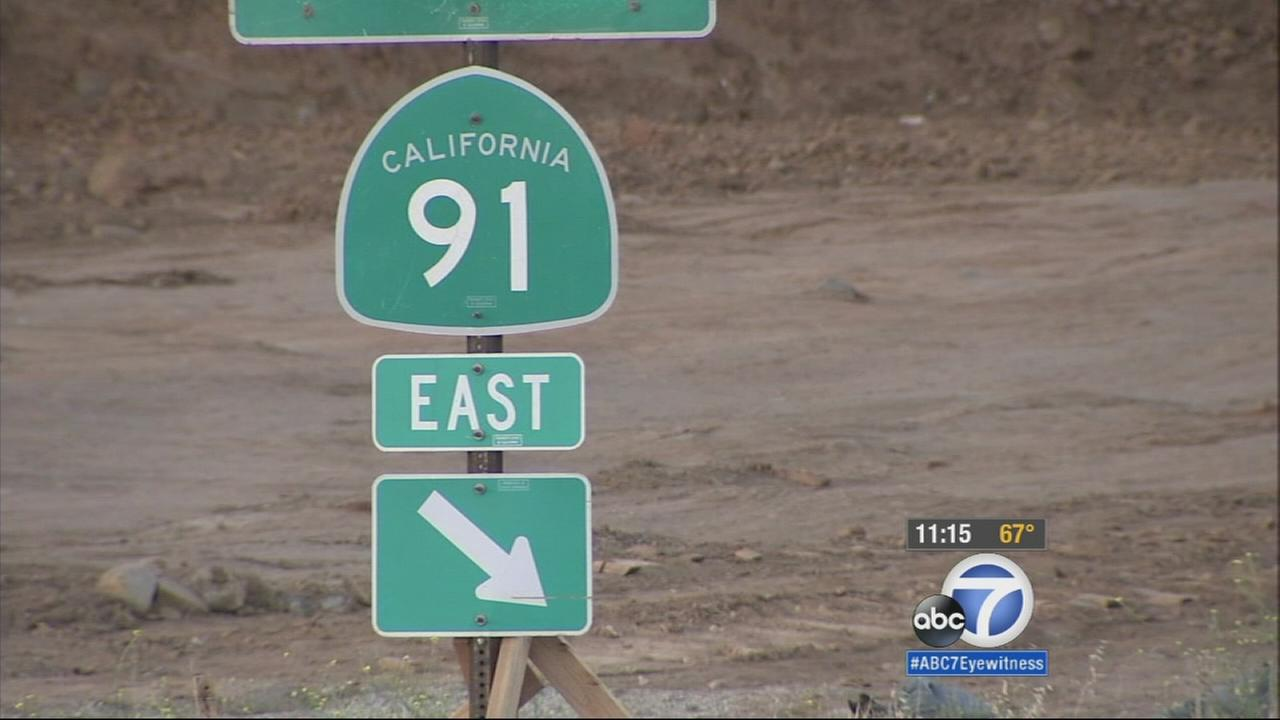 A sign for the 91 Freeway is shown in this undated file photo.