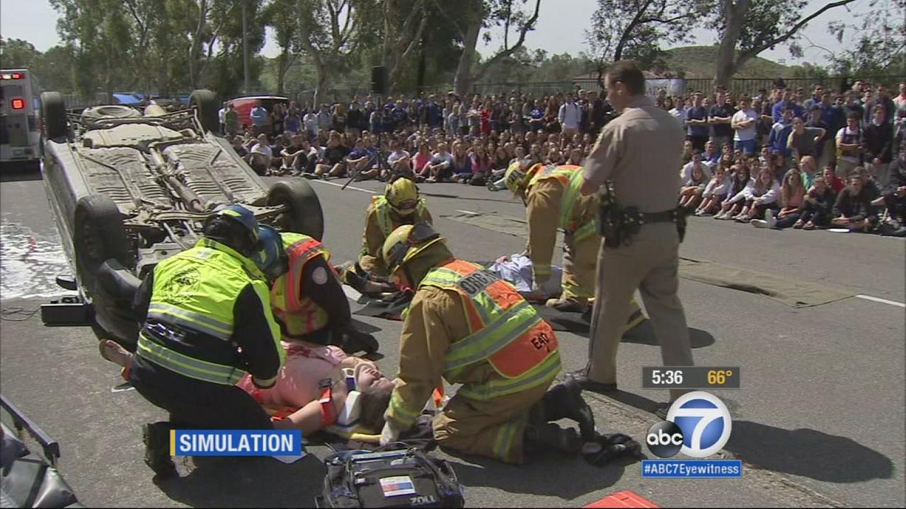 Students at Rancho Santa Margarita Catholic High School received a sobering reminder to never drink and drive during a DUI demonstration on Wednesday.