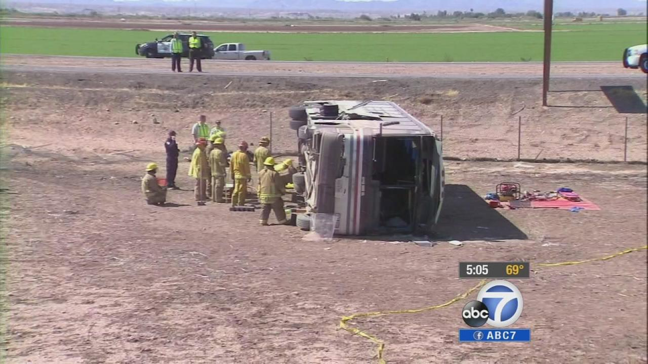 Four people were killed and at least 21 injured after a big rig and a bus crash on the I-10 near the Arizona border on Wednesday, May 21, 2014.
