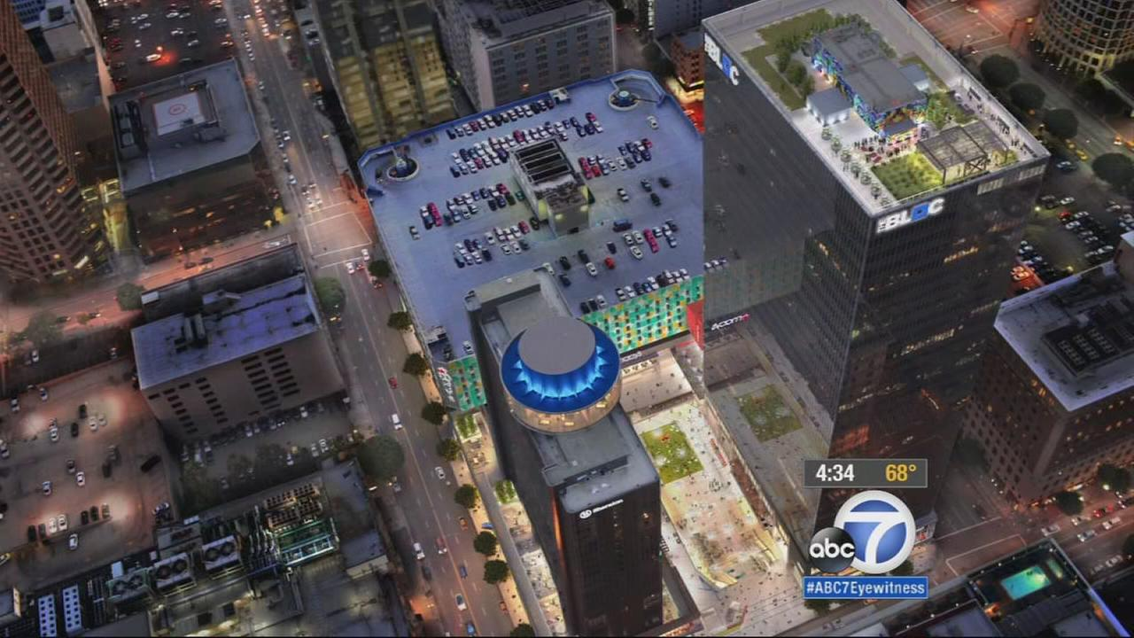 A graphic illustration depicts the redeveloped Macys plaza on 7th and Flower streets in downtown Los Angeles.