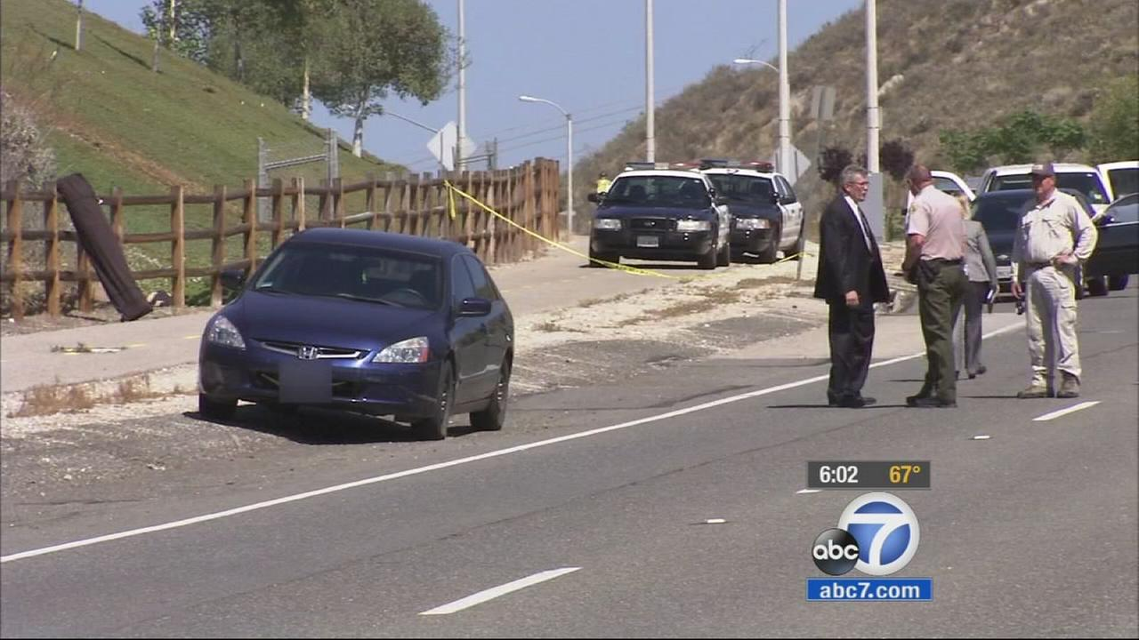 Los Angeles County Sheriffs Homicide detectives are investigating the death of a man found in the trunk of a Honda Accord on the side of a road in Canyon Country Sunday.