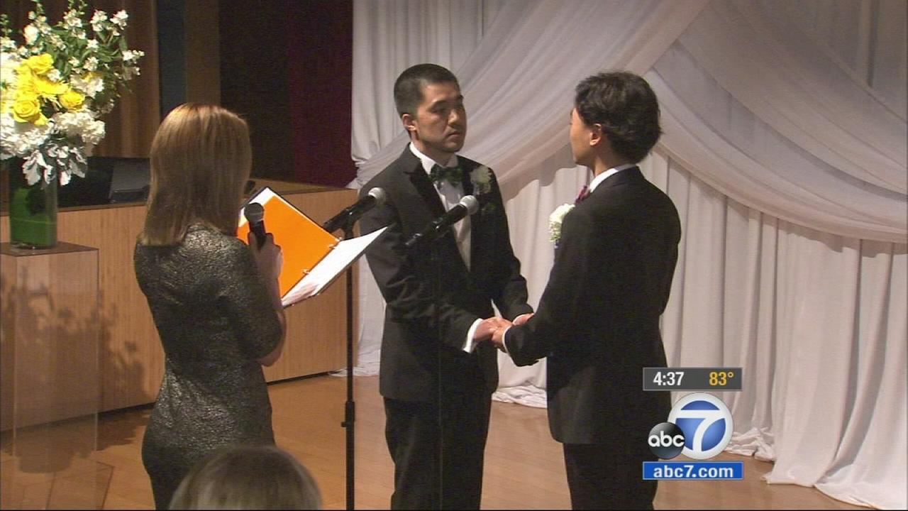 Ten same-sex couples from China got hitched Tuesday in a special group wedding in West Hollywood after winning a contest aimed at raising awareness and fostering acceptance of same-sex relationships.