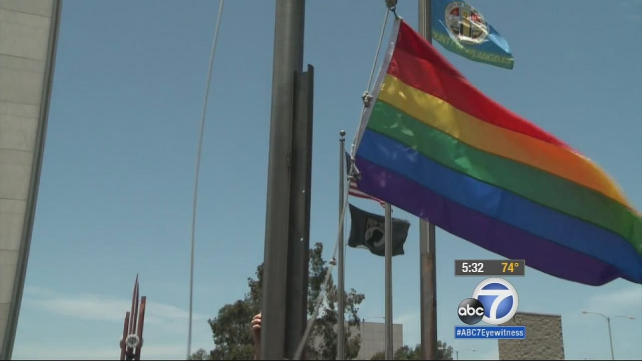 A rainbow pride flag flew over the Civic Plaza in Long Beach on Friday, after the U.S. Supreme Court ruled that same-sex couples have the right to marry in every state.