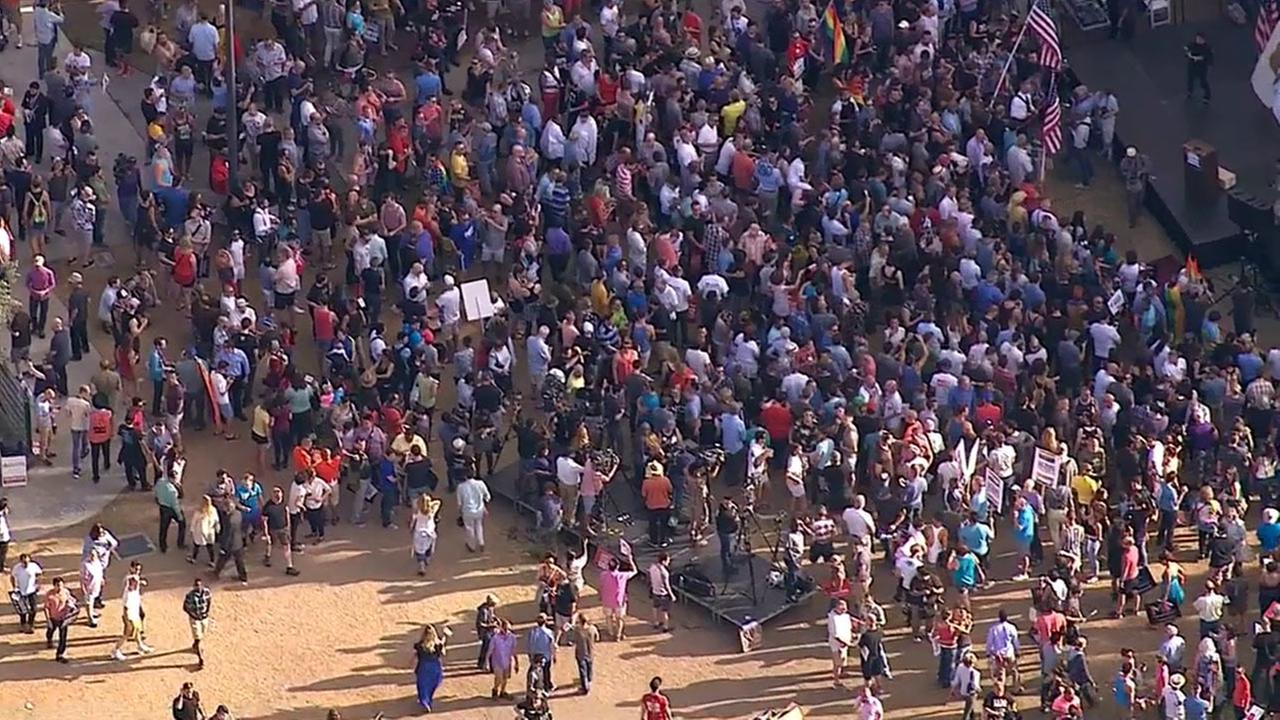Hundreds gathered in West Hollywood Park to celebrate the Supreme Courts decision on same-sex marriage on Friday, June 26, 2015.