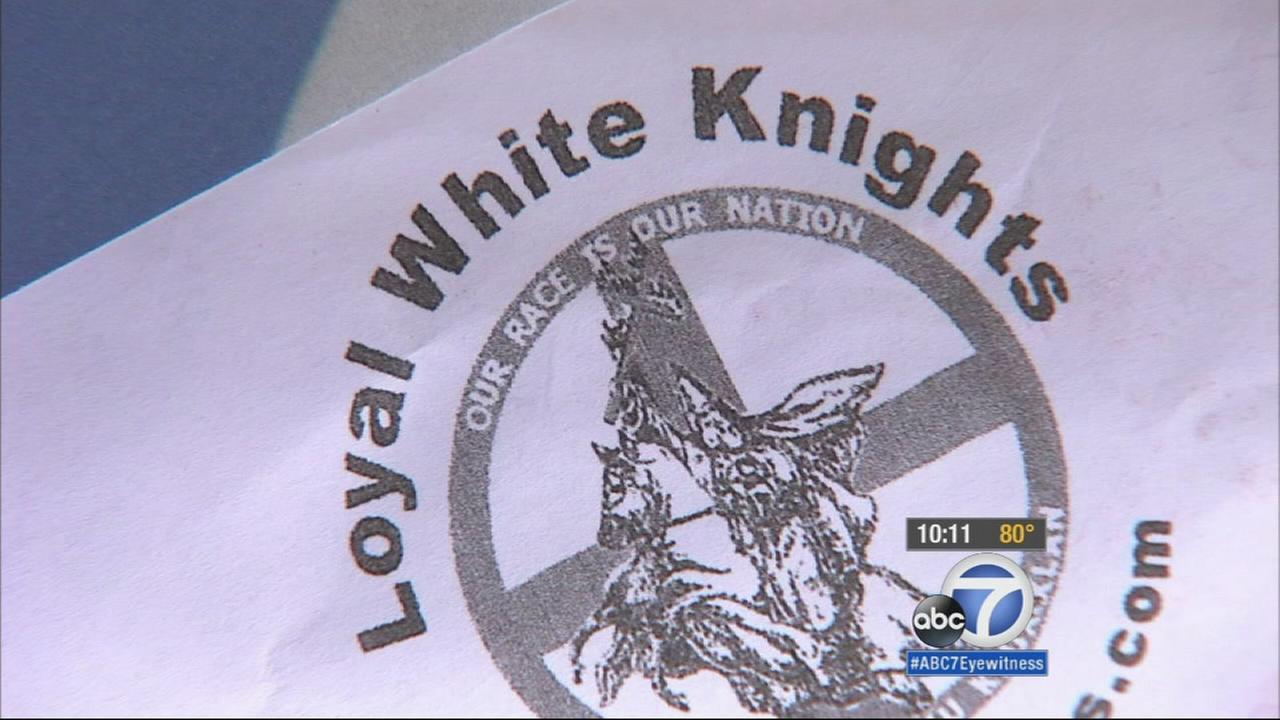 A Whittier neighborhood received plastic bags containing racist propaganda possibly from the Ku Klux Klan Sunday morning.