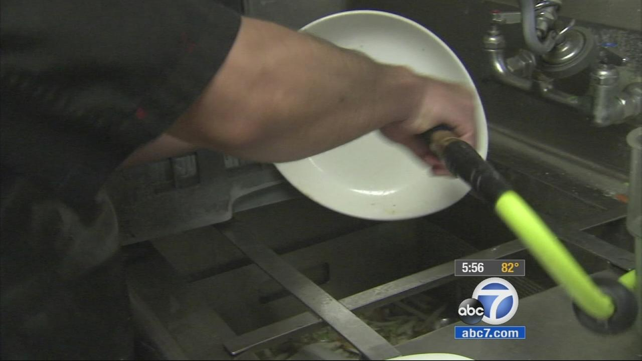 An Orange County restaurant is using compressed air instead of water to clean their dishes.