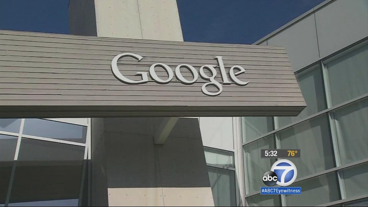 A sign on a building at the Google campus is shown in an undated photo.