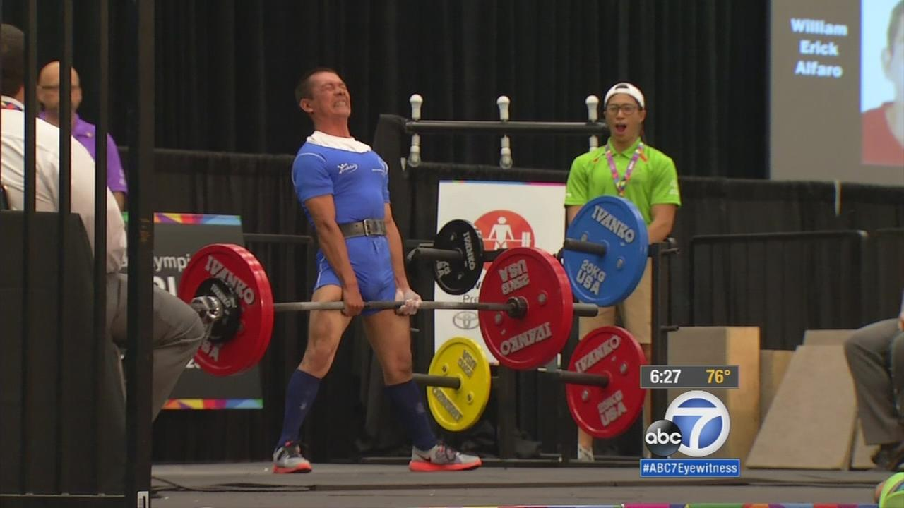 The first round of the Special Olympics World Games powerlifting events got underway at the Los Angeles Convention Center on Monday.