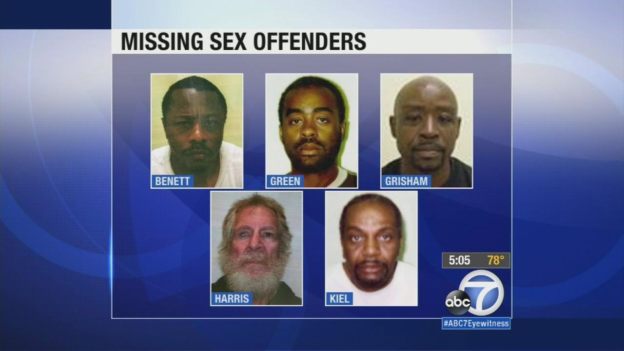 Authorities are searching the Antelope Valley for 10 paroled sex offenders who have gone missing, including at least one who cut off his GPS ankle bracelet.