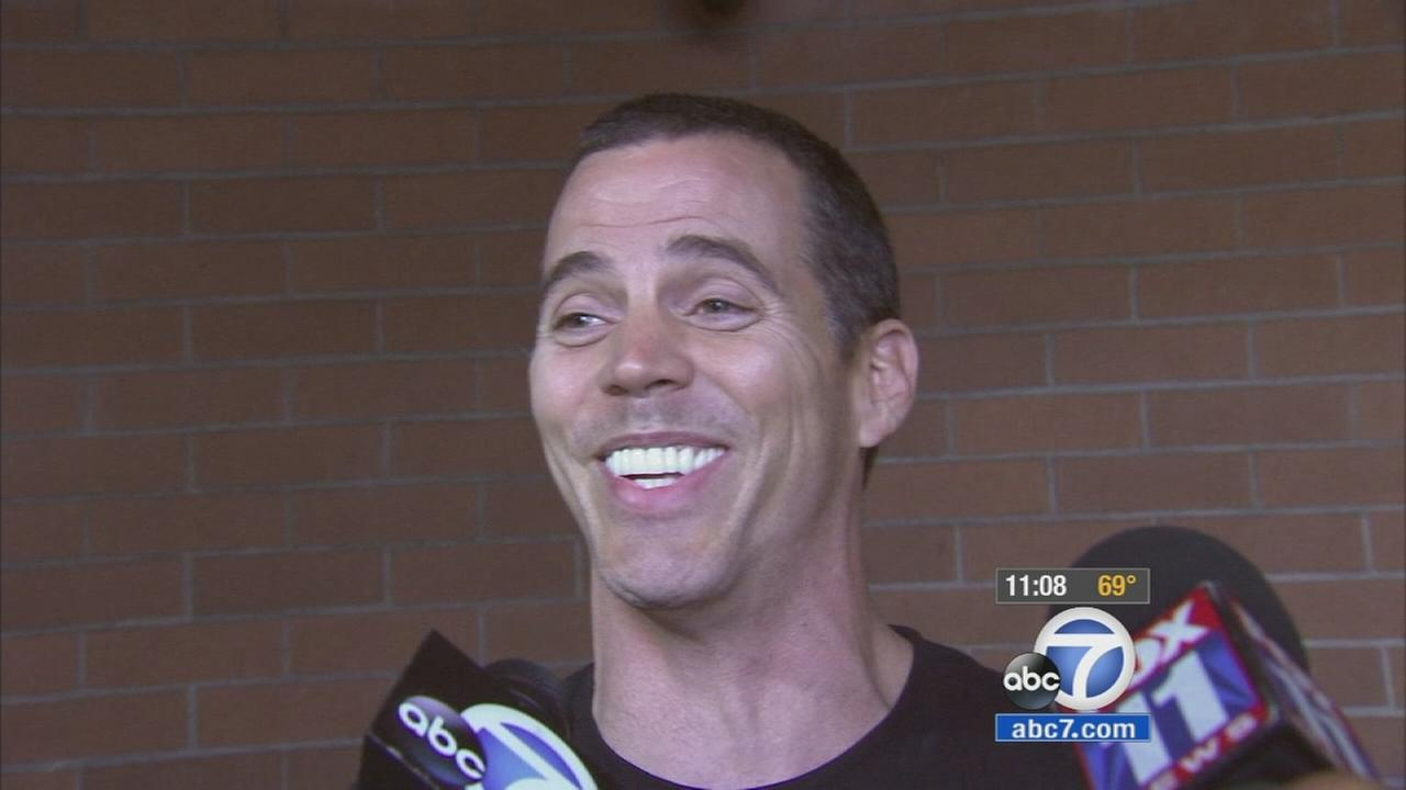 Reality star and stuntman Steve-O is shown being interviewed after he posted bail on Monday, Aug. 10, 2015.