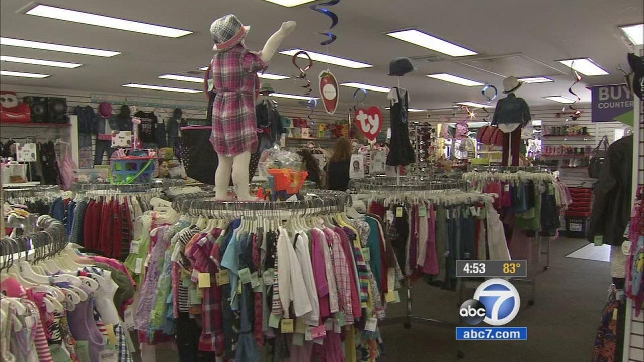 There are clothing racks galore inside Childrens Orchard, a resale store in Manhattan Beach.