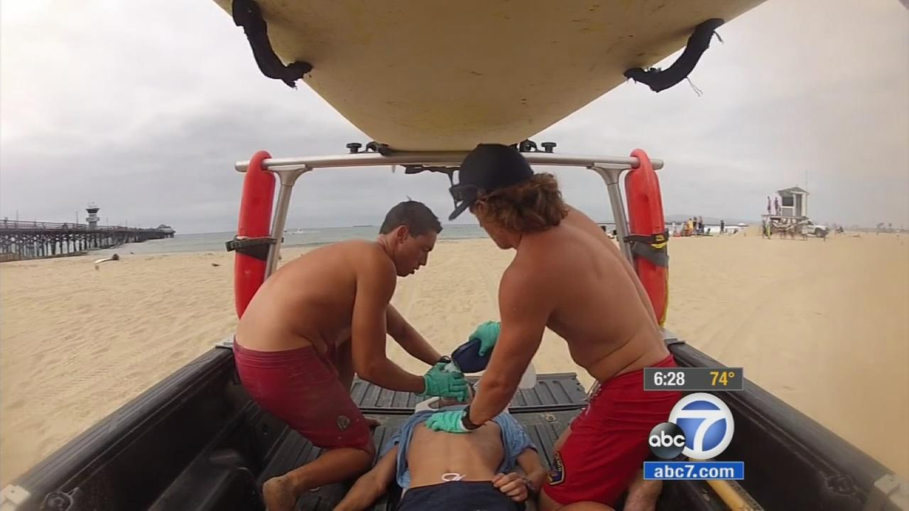 Lifeguards take part in an emergency drill in Orange County, California.