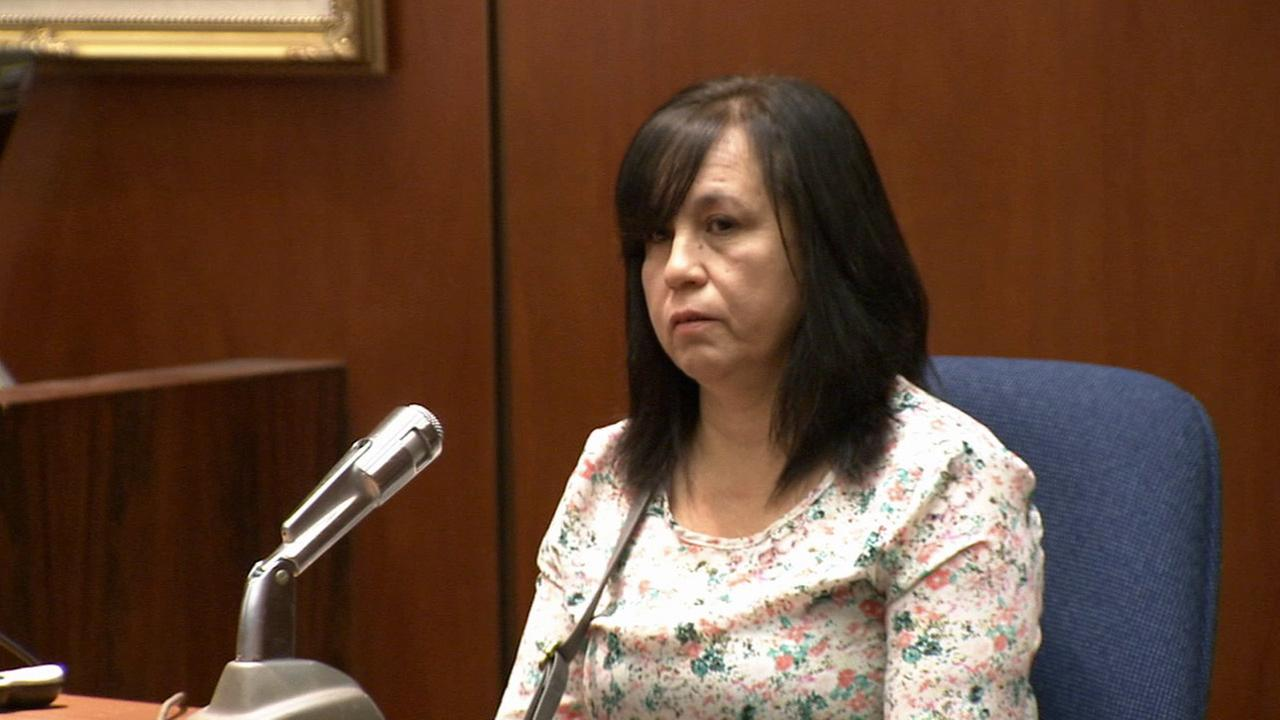 Gloria Rodriguez, a former receptionist for Dr. Lisa Tseng, is shown testifying in court on Friday, Sept. 4, 2015.