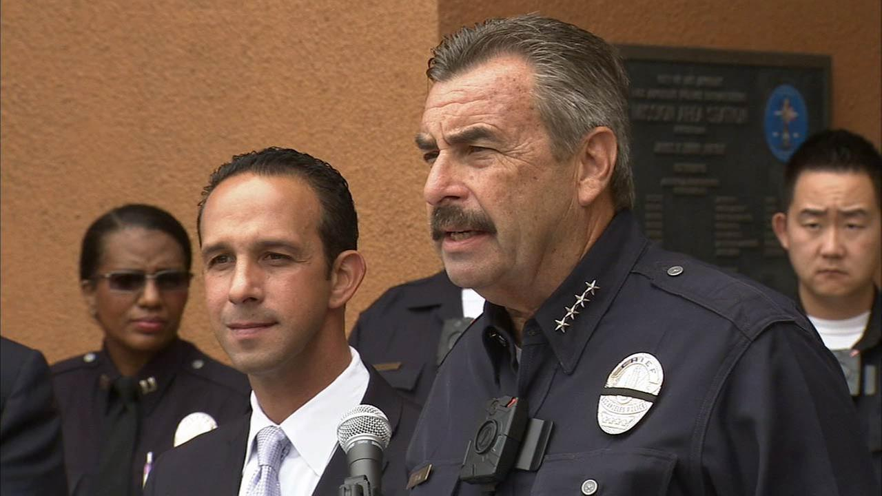 LAPD Chief Charlie Beck speaks about the increase in violence in Los Angeles at a press conference on Friday, Sept. 4, 2015.