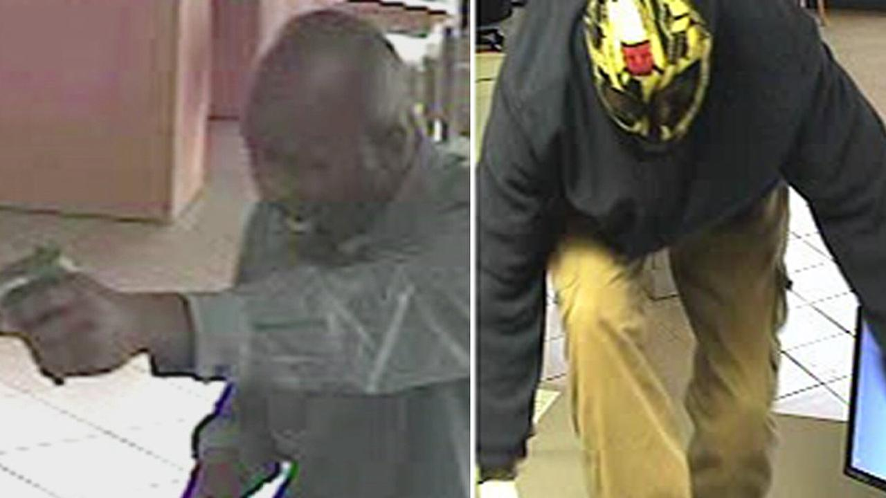 Split screen of two robbery suspects captured on surveillance video at an Orange County bank is shown above.
