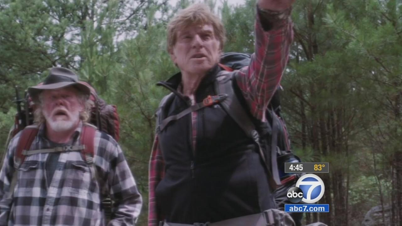 Robert Redford and Nick Nolte are shown in a clip from A Walk in the Woods.