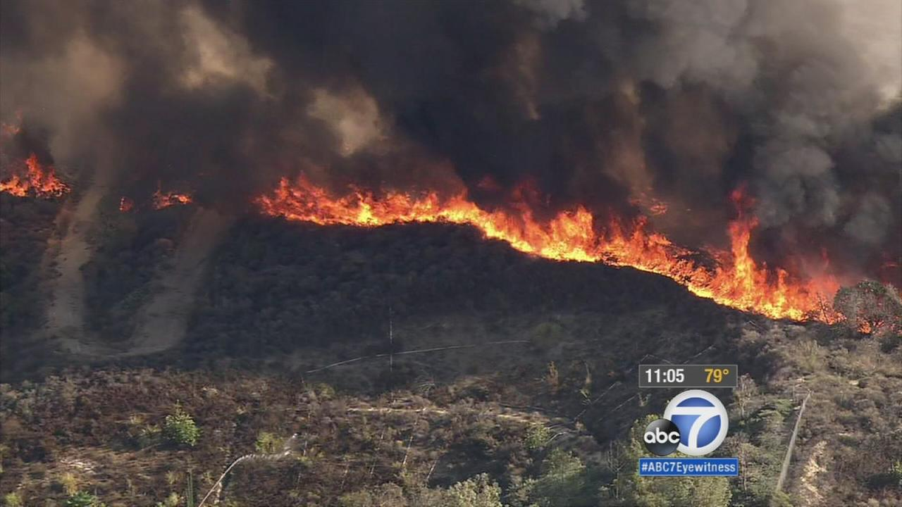 Flames burn through light, dry brush on a La Habra hillside near the Fullerton border on Tuesday, Sept. 8, 2015.