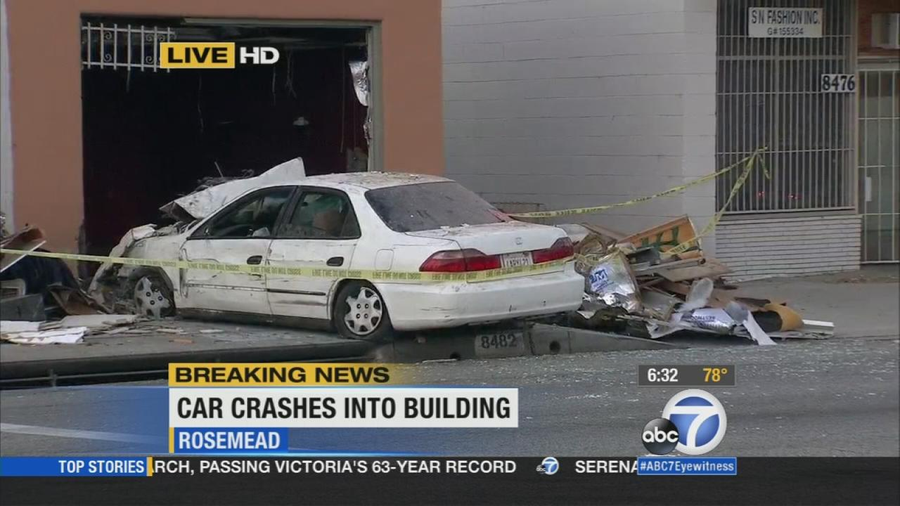 A suspected drunk driver crashed into a building in Rosemead, injuring two people inside, and then tried to flee the scene on Wednesday, Sept. 9, 2015.