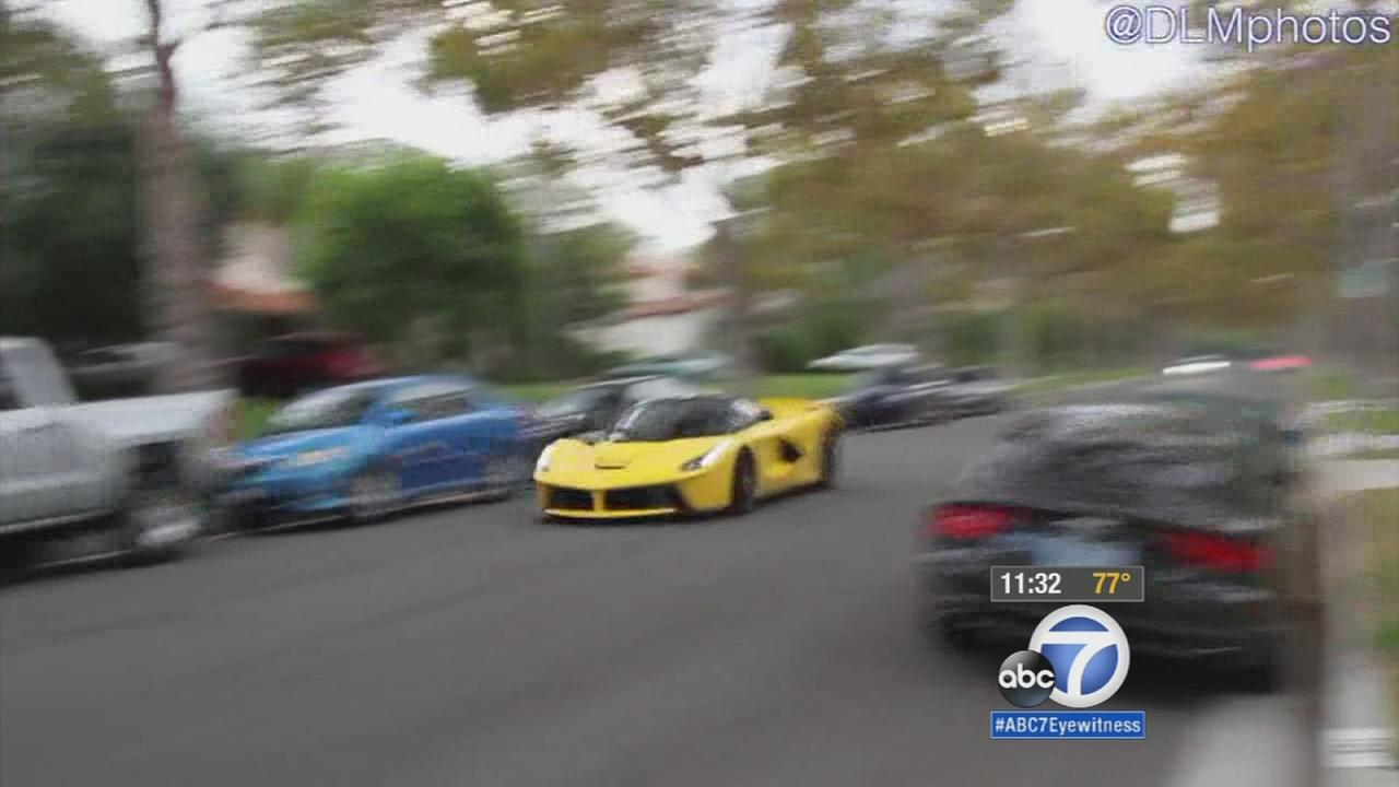 A yellow Ferrari was caught on camera speeding through residential streets in Beverly Hills on Saturday, Sept. 12, 2015.