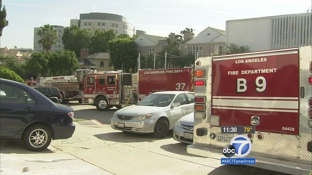 Emergency vehicles near the UCLA campus. A student was found dead at the scene of an apartment fire on Monday, Sept. 21, 2015.