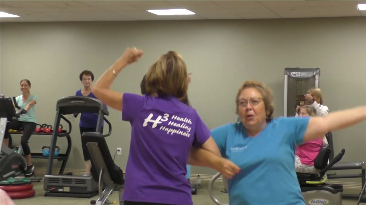 Cancer survivors dance in a class offered at St. Joseph.