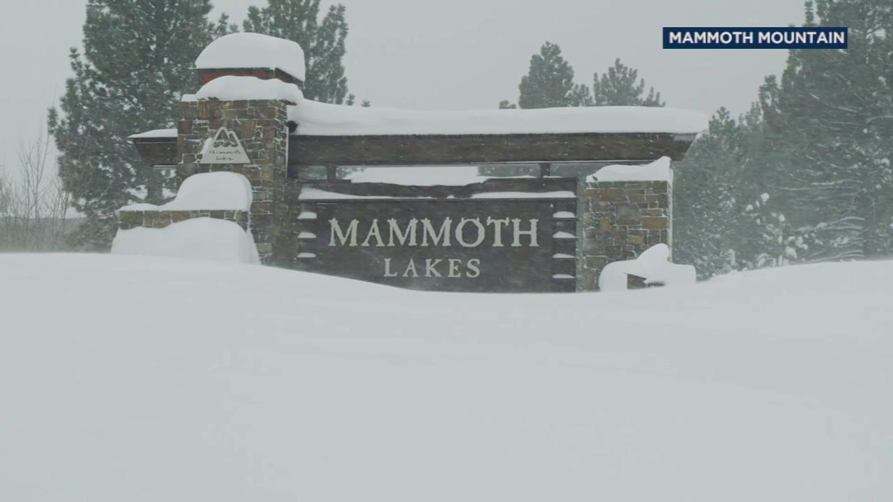Snow falls at Mammoth Mountain.