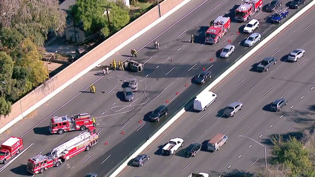 One person is dead following a traffic collision involving multiple vehicles on the 101 Freeway in Sherman Oaks, prompting multiple westbound lanes to be shut down Tuesday afternoon.