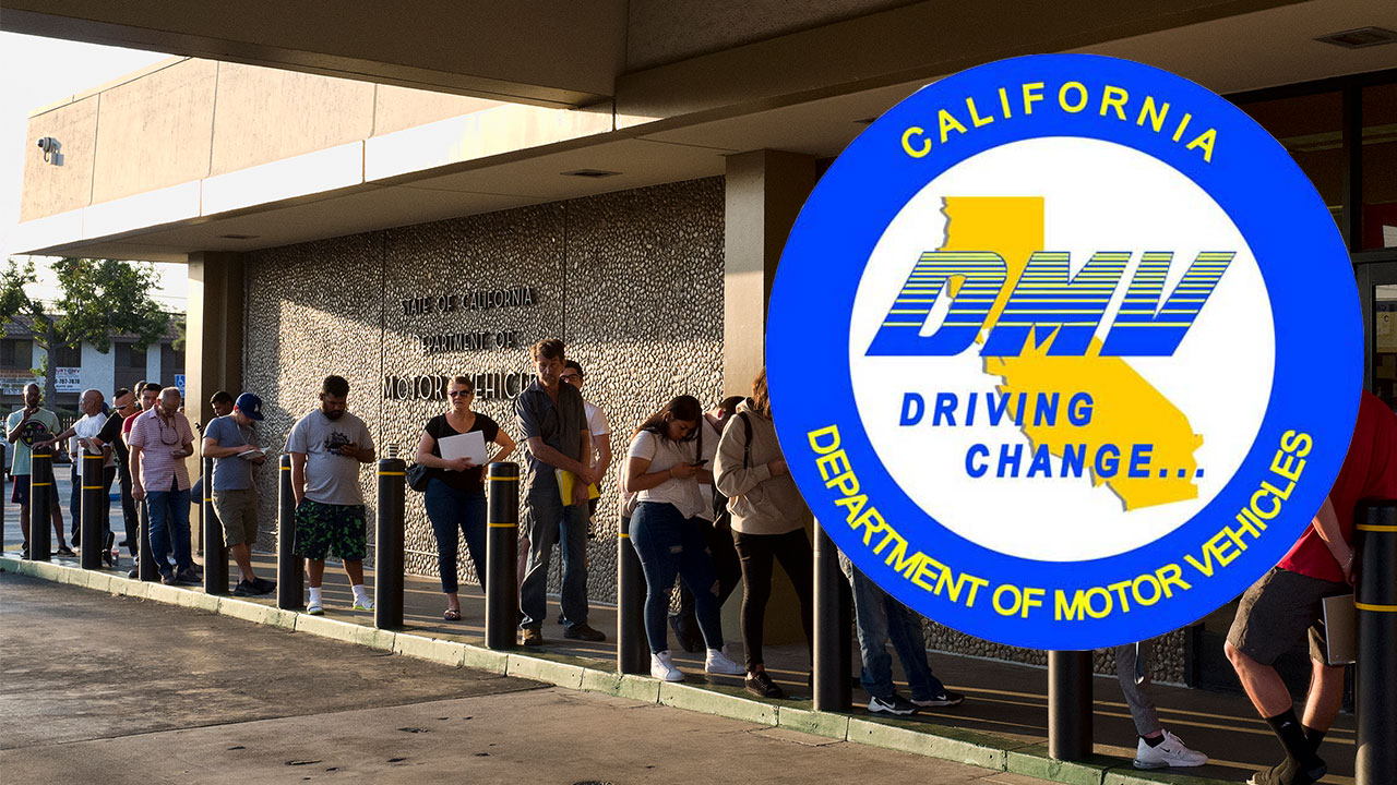 FILE - In this Tuesday, Aug. 7, 2018, file photo, people line up at the California Department of Motor Vehicles prior to opening in Van Nuys